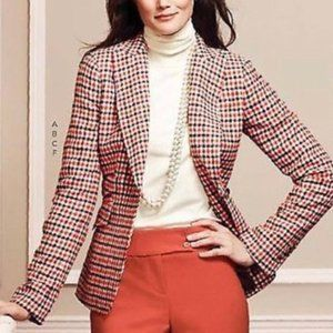 TALBOTS Red Checkered Wool Blend Lined Blazer